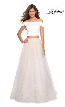Picture of: Off the Shoulder Two Piece Dress with Textured Skirt in White, Style: 27478, Main Picture