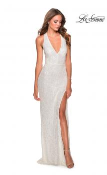 Picture of: Chic Sequin Prom Dress with Criss Cross Open Back in White, Style: 28659, Main Picture