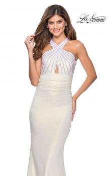 Picture of: Metallic Criss Cross Jersey Dress with Rhinestones in White, Style: 28745, Main Picture