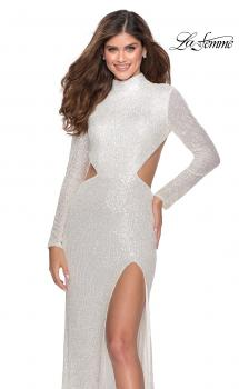 Picture of: Long Sleeve Sequin Prom Dress with Open Back in White, Style: 28771, Main Picture