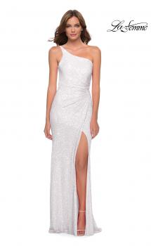 Picture of: Sequin Gown with One Shoulder Top and Open Back in White, Style 29962, Main Picture