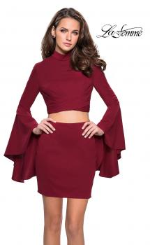Picture of: Two Piece Bell Sleeve Jersey Dress with Open Back in Wine, Style: 26621, Main Picture