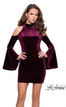 Picture of: Short Velvet Bell Sleeve Dress with Cold Shoulders in Wine, Style: 26628, Main Picture