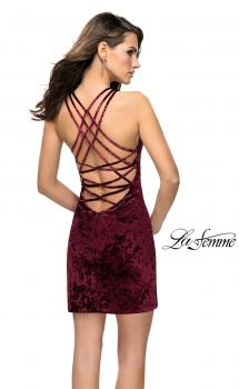 Picture of: High Neck Short Velvet Dress with Criss Cross Back Straps in Wine, Style: 26663, Main Picture