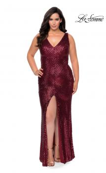Picture of: Sequin Striped Plus Size Prom Dress with Center Slit in Wine, Style: 28796, Main Picture