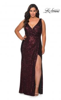 Picture of: Sequin Plus Size Prom Gown with Ruching and V-neck in Wine, Style: 29046, Main Picture