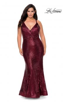 Picture of: Sequin Plus Size Prom Dress with Criss Cross Back in Wine, Style: 29051, Main Picture