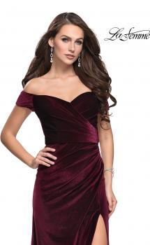 Picture of: Off the Shoulder Mermaid Gown with Strappy Back and Train in Wine, Style: 25213, Main Picture