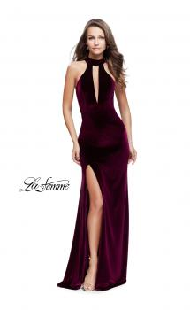Picture of: Velvet Prom Dress with Open Back and Deep V Cut Out in Wine, Style: 25292, Main Picture