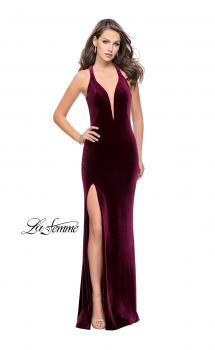 Picture of: Long Velvet Prom Dress with Deep V and Side Leg Slit in Wine, Style: 25363, Main Picture