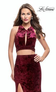 Picture of: Long Velvet Prom Dress with Crop Top and Leg Slit in Wine, Style: 25500, Main Picture