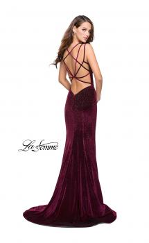 Picture of: Velvet Form Fitting Prom Dress with Intricate Back in Wine, Style: 25681, Main Picture