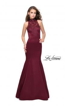 Picture of: Form Fitting Prom Dress with Denim Mermaid Skirt in Wine, Style: 25792, Main Picture