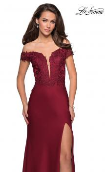 Picture of: Off The Shoulder Gown with Lace Bust and Slit in Wine, Style: 27097, Main Picture