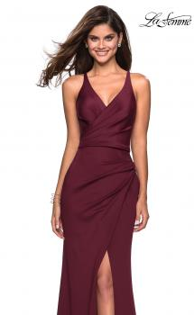 Picture of: Long Jersey Ruched Dress with Side Leg Slit, Style: 27317, Main Picture