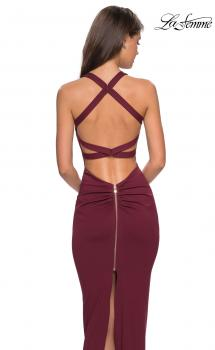 Picture of: Body Forming Dress with Exposed Zipper and Slit in Wine, Style: 27637, Main Picture