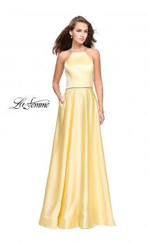 Picture of: Long High Neck Satin Gown with Beaded Strappy Back in Yellow, Style: 26269, Main Picture