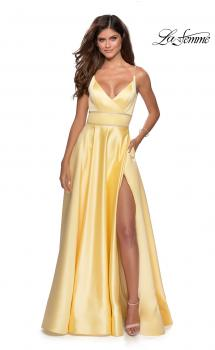 Picture of: A-line Gown with Double Rhinestone Belt Detail in Yellow, Style: 28385, Main Picture